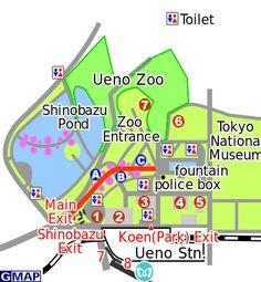 Ueno Park TOKYO http://www.abiertoporvacaciones.com/japon/tokyo/uenomap.jpg