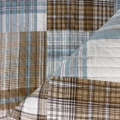 NAUTICA  PLAID Pattern 3PC KING SIZE QUILT SET Blue Tan Brown Ivory COTTON NEW #Nautica