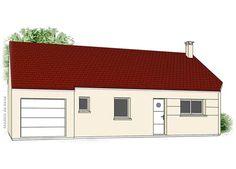 Modèle PC-75   Pavillon plain-pied avec garage comprenant cuisine, séjour, salle de bains, WC et 3 chambres.  Surface Habitable : 84,14m²
