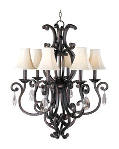Maxim Lighting 31005CU/CRY083/SHD62 Richmond Colonial 6 Lt Chandelier- a favorite!