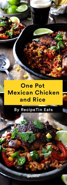 This one pot Mexican chicken and rice brings together your favorite Mexican red rice with a fajita seasoned chicken all made in one pot! Youll live the fluffy rice juicy chicken with crispy skin and the sweet pops of corn. Its a flavor explosion! Easy Chicken Recipes, Easy Dinner Recipes, Easy Meals, Dinner Ideas, Simple Meals, Dinner Options, Lunch Recipes, One Dish Dinners, One Pot Meals