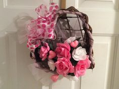 Valentine's heart shaped basket arrangement, Pink and white Valentine's floral, Wicker heart Valentine's wreath, Valentine's door and wall by StylishDecorbyGClark on Etsy