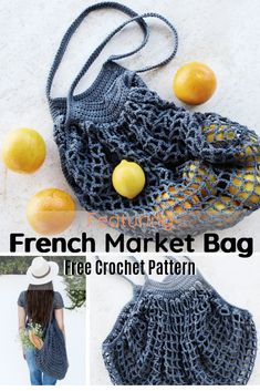 This is not your usual tote! This crochet French market bag is a very strong bag, it's durable, lightweight and expandable! With a construction a little unconventional, this intermediate level… Crochet Diy, Crochet Tote, Crochet Handbags, Crochet Crafts, Knitting Patterns Free, Crochet Patterns, Purse Patterns, Sewing Patterns, Crochet Market Bag