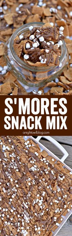 S'mores Snack Mix - all the great S'mores taste in an easy to make snack mix!