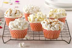 Popcorn cupcakes - perfect for a movie theme party or academy awards party.