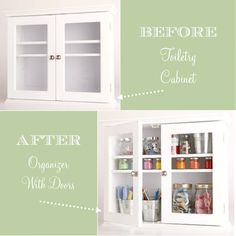 creative craft storage toiletry cabinet (good solution for little stuff and that extra space between the shelf and the window?)