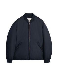 Front image of Arket nylon liner jacket in blue Men's Coats And Jackets, Black Jackets, Field Jacket, Green Jacket, Bomber Jacket, Menswear, Clothes, Vintage, Dark Blue