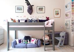Loft bed Height by mathy by bols - - High Rise Bed, High Beds, Raised Beds Bedroom, Bed With Desk Underneath, Girls Bedroom, Bedroom Decor, Bedroom Ideas, Bunk Bed With Desk, Beds Uk