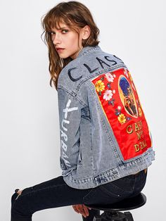 SheIn - SheIn Patch Back Letter Print Bleach Wash Denim Jacket - AdoreWe.com