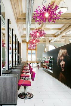 Wadsworth-Salon. To-die-for Electric Pink chandeliers, graphics & product display xoxo Beautylove Aprons