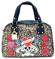 3559b97d9b  144.00 Fashion Forward Ed Hardy Large Asia Satchel Handbag with  Rhinestones   Love Kills Slowly Tattoo