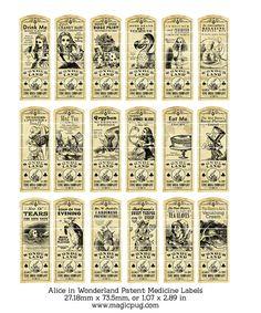 Alice im Wunderland-Patentrezept oder trank Label von magicpug