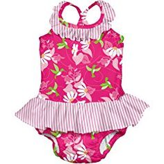 i play. Baby & Toddler Girls' Ruffle Swimsuit with Built-In Absorbent Swim Diaper