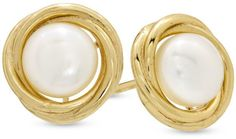Zales 6.0 - 6.5mm Cultured Freshwater Pearl Swirl Earrings in Sterling Silver with 14K Gold Plate
