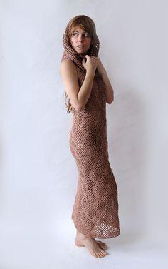 Вязание крючком платье макси с капюшоном воротник современный кочевой женщины по GlamCro