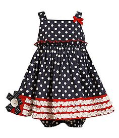 Bonnie Baby Infant Ruched Woven Dotted Dress
