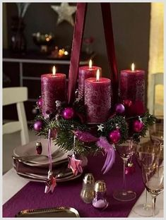 Photo: Purple Christmas centerpiece – very fairly! Categories: Decoration Added: Tags: Purple,Christmas,centerpiece,very,fairly! Resolutions: Description: This photograph is about Purple Christmas centerpiece – very fairly! Purple Christmas Decorations, Christmas Table Centerpieces, Christmas Tablescapes, Table Decorations, Holiday Decor, Centerpiece Ideas, Purple Centerpiece, Wedding Centerpieces, Christmas Candles