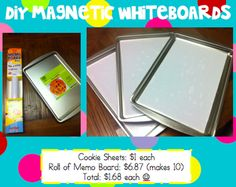 DIY magnetic white boards, cookie sheets covered in memo board paper. I am sensing a summer project!