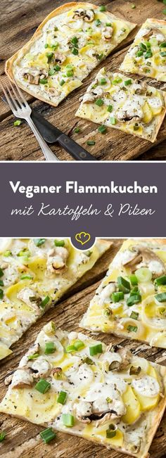 Vegan tarte flambée with potatoes, mushrooms and spring .- Veganer Flammkuchen mit Kartoffeln, Pilzen und Frühlingszwiebeln If animal products have nothing to look for in your kitchen, this crispy, vegan tarte flambé brings a big smile to your face. Go Veggie, Vegetable Recipes, Vegetarian Recipes, Healthy Recipes, Pizza Recipes, Vegetarian Lifestyle, Noodle Recipes, Burger Recipes, Recipes Dinner