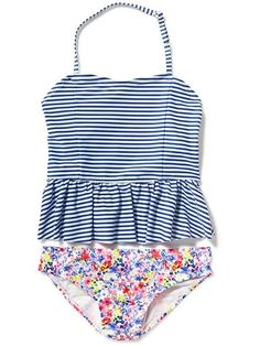 Halter Tankini for Girls, blue and white strips with floral print. #style #fashion #kids