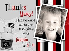 Thank You - Matches our Pirate Party 2 - Birthday Printable Party Invitation for your Little Girl ANY AGE