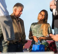 Who runs the world: Former President Bill Clinton certainly ran into Beyonce at the Made In America festival in Philadelphia on Sunday - which happened to be her 35th birthday