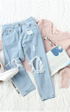 Blue Knee Ripped Skinny Ankle Jeans with pink sweater and white sneakers from romwe.com