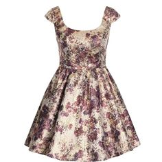 Chi Chi London Metallic floral dress (2,235 PHP) ❤ liked on Polyvore featuring dresses, clearance, collar dress, skater dress, floral print dress, cap sleeve skater dress and vintage style dresses