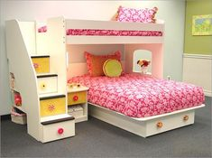 Pink Bunk Beds Sets with Stairs and Storage in Teenage Girls Bedroom Design Ideas Spectacular Kids Bedroom Furnishings with Bunk Beds with Stairs Bunk Beds With Storage, Bunk Beds With Stairs, Loft Beds, Bed Stairs, Storage Stairs, Stair Drawers, Drawer Storage, Storage Area, Storage Bins