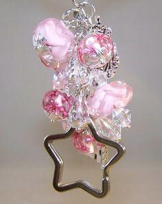 pink charm keychain