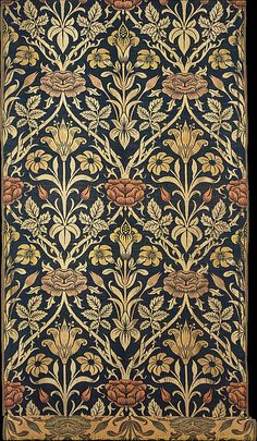 Rose and Lily,  Morris & Company,  designed by John Henry Dearle, Silk  and Woven  Wool  Merton Abbey, Surrey, England    A.D. 1800-1900