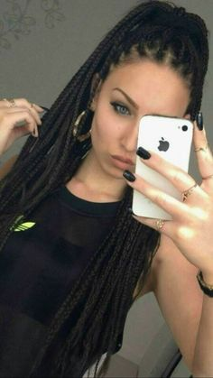 White girl box braids and hers they both just slay