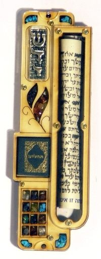 Mezuzah containing the stones worn in the priests' breastplate.