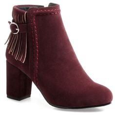 Wine Red 39 Fringe Buckle Strap Stitching Boots (97 RON) ❤ liked on Polyvore featuring shoes, boots, ankle booties, red boots, red fringe boots, stitch shoes, fringe boots and red fringe shoes