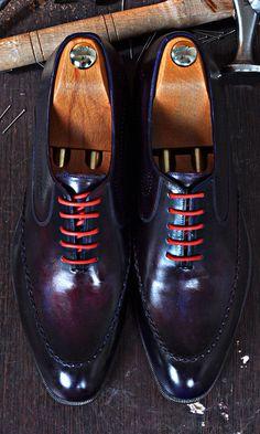 Mens Luxury Shoes : TucciPolo Dark Purple Handmade Naturally Tanned Calfskin Italian Leather Luxury Mens Shoe
