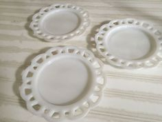3 Hazel Atlas Milk Glass Open Lace Edge Plates or Picture Frames/Art Canvases  | eBay