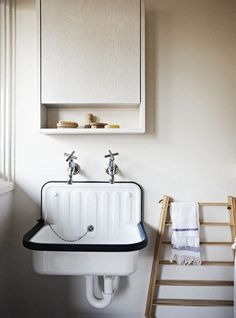 Lately we& been noticing the humble Alape bucket sink in washrooms everywhere (we first spotted it at Labour and Wait, in London). Here& a roundup of spaces, plus a source for the sink. Lavabo Vintage, Vintage Sink, Bad Inspiration, Bathroom Inspiration, Diy Bathroom Decor, Small Bathroom, Bathroom Sinks, Bathroom Wall, Small Sink
