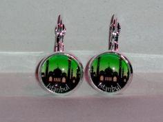 Ohrringe und Ohrstecker im Onlineshop - Verrückte Ohrringe und Schmuck Welt  - Ohrringe Skyline Istanbul grün Glas handgemacht Ø 14 mm inklusive Fassung Neuware