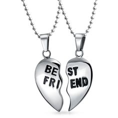 Bling Jewelry Love My BFF Set ($27) ❤ liked on Polyvore featuring jewelry, necklaces, grey, necklaces pendants, pendant-necklaces, necklace heart pendant, stainless steel heart pendant, heart pendant, stainless steel jewelry and heart shaped necklace