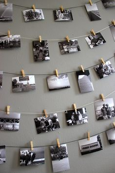 I am doing this. All you need is string, clothespins, pictures and something (tape, tacks, nails, ect) to pin the string to the wall! You can hang up cool scenery pictures, family pictures, pictures friends, pictures you took yourself, anything.