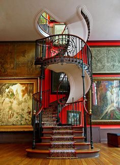 Black and red staircase.