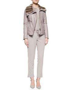 Armani Collezioni Rabbit Fur-Trimmed Leather Jacket, Twist-Front Charmeuse Blouse & Drawstring Straight-Leg Ankle Pants Fall 2015