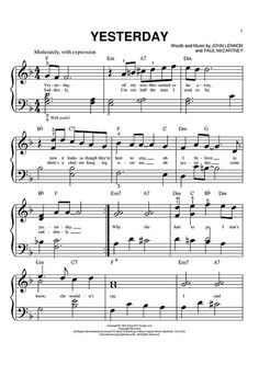 Piano Sheet Music - Yesterday, by John Lennon & Paul McCartney