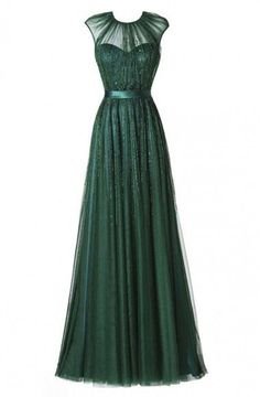 Glamorous Round Neck Floor-Length Pleated Dark Green Prom Dress With Beading TP0033