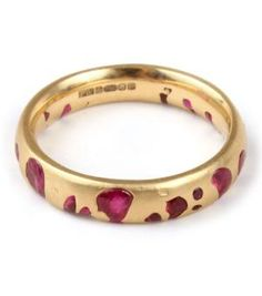 Catbird::Polly Wales::Narrow Band - rubies, yellow gold