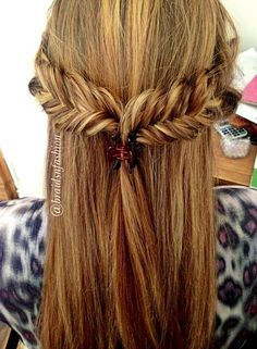 Two side made Fishtail Briads Clipped together in the back. simple & beautiful