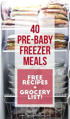 Huge list of freezer meals to make before your baby's birth so you don't have to cook. Includes grocery lists and recipes for all the meals.