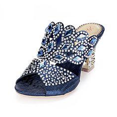 defdc2c0f0e669 CRC Womens Fashion Slipon Glitter Rhinestones Prom Wedding Party Blue  Sandals 8 M US  gt