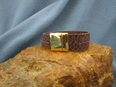 2 Strands 10mm Brown Egyptian Flat Leather with 20mm Smooth Gold Magnetic Clasp