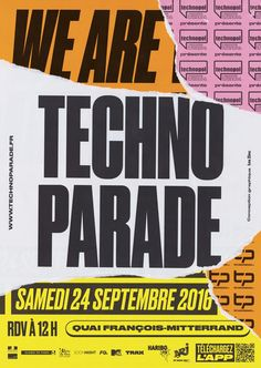 Techno Parade 2016 on Behance Poster Design, Poster Layout, Graphic Design Posters, Web Design, Book Design, Layout Design, Typography Letters, Typography Design, Lettering